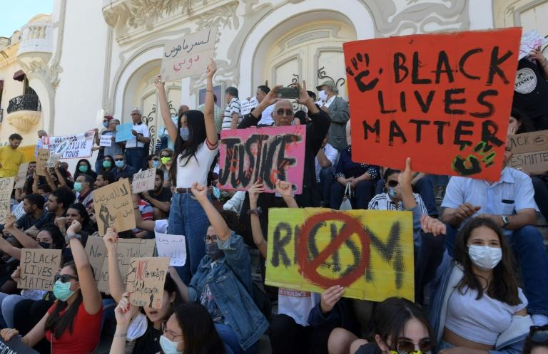 """Tunis saw a rare Black Lives Mattter protest in North Africa in early June. The rally was 'a message for African Americans from Mother Africa to say 'We are with you',"""" said its leader, Saadia Mosbah (AFP Photo/FETHI BELAID)"""