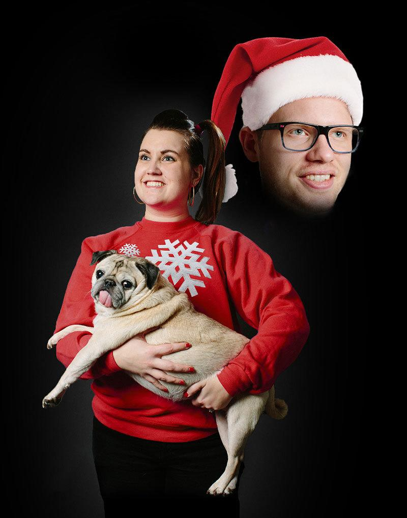 "<p>Tacky Christmas sweaters might score a 2 or 3 on the awkward scale. But a creepy floating head gets a perfect 10. <i>(Photo: <a href=""http://ninethirtythree.com/journal/merry-xmas-from-the-gormans-brinkley-the-pug"" rel=""nofollow noopener"" target=""_blank"" data-ylk=""slk:Kristian Gorman"" class=""link rapid-noclick-resp"">Kristian Gorman</a>)</i> </p>"