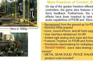 Transfarring coming to US version MGS HD [update]