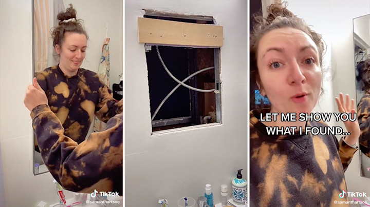 Woman's eerie find behind mirror after feeling 'cold air'