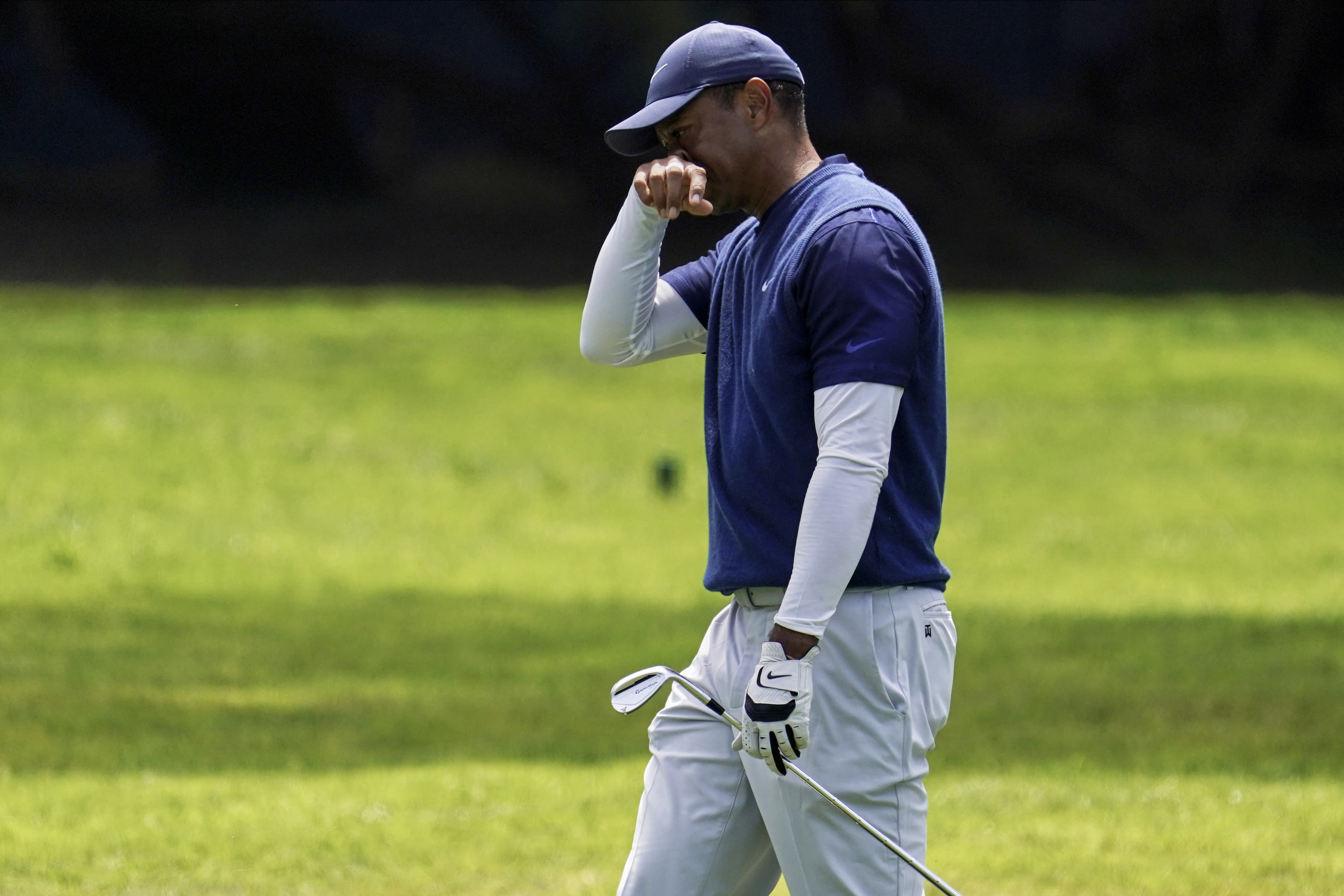 Tiger Woods walks to the 12th green during the third round of the PGA Championship golf tournament at TPC Harding Park Saturday, Aug. 8, 2020, in San Francisco. (AP Photo/Jeff Chiu)