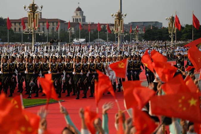 Chinese honour guards prepare for celebrations in Beijing on July 1, 2021, to mark the 100th anniversary of the founding of the Communist Party of China. (Photo by WANG Zhao / AFP) (Photo by WANG ZHAO/AFP via Getty Images)