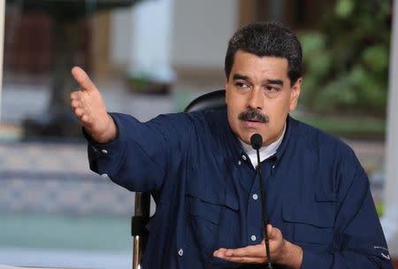 Venezuela's President Nicolas Maduro speaks during a meeting at Miraflores Palace in Caracas