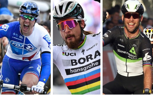 Arnaud Démare (left), last year's winner, finished in sixth spot while Peter Sagan (centre) was pipped at the line by Michal Kwiatkowski. Mark Cavendish, meanwhile, rolled in over 5mins back in 101st place