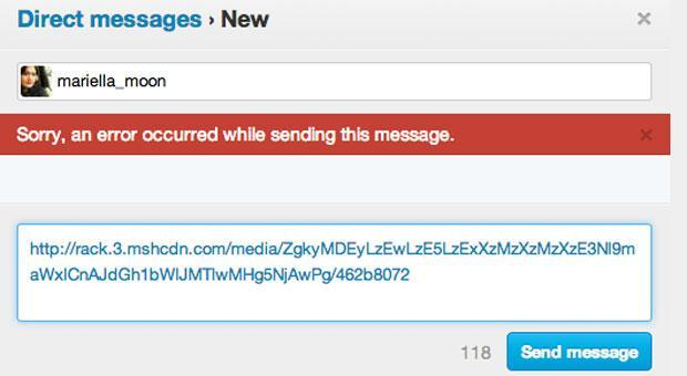 Sending links inside Twitter direct messages doesn't work if you're unverified (update: a 'technical issue with URLs')
