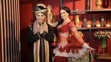 Graciele Lacerda e Zezé di Camargo usam fantasias exóticas em festão de luxo