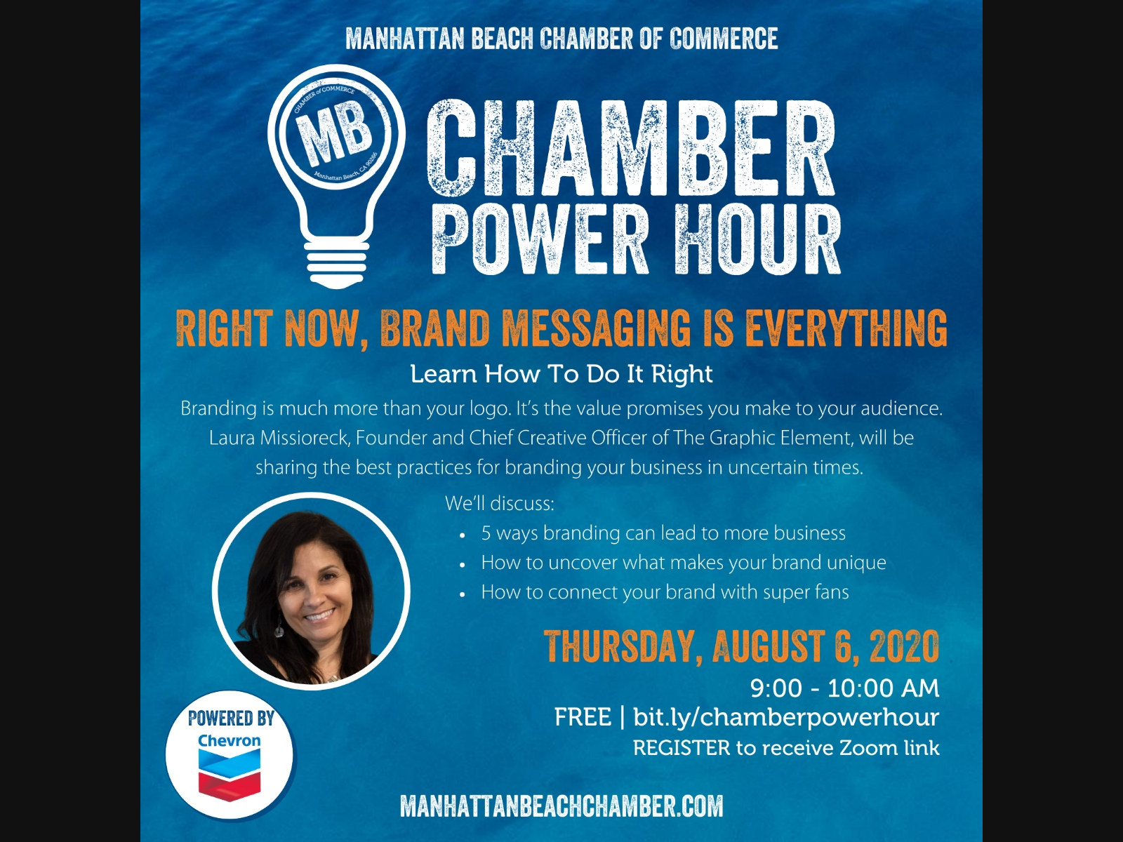 The MB Chamber Power Hour is a free webinar. The next one is scheduled for August 6 and is free. Register in advance.