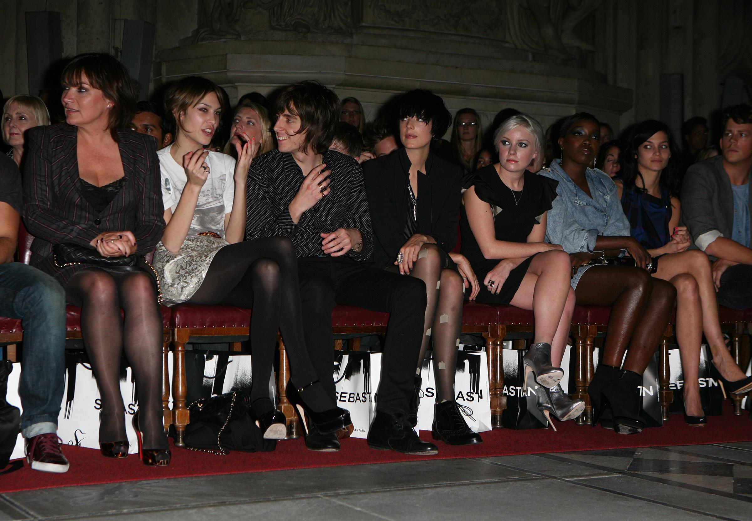 Lorraine Kelly, Alexa Chung, Miles Kane, Agyness Deyn, Little Boots, Estelle in the front row at the House Of Holland Spring/Summer '10 catwalk show during London Fashion Week at the Guildhall in London.
