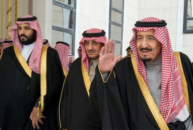 Saudi King Salman bin Abdulaziz (R), Crown Prince Mohammed bin Nayef (C) and deputy Crown Prince Mohammed bin Salman, pictured in late 2016