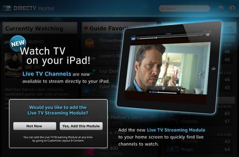 DirecTV's iPad app updated with live TV streaming, as long as you stay at home