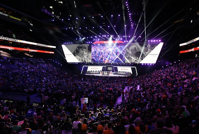 PHILADELPHIA, PA - SEPTEMBER 29: Fans enter the arena before the start of gameplay at the Overwatch League Grand Finals at the Wells Fargo Center on September 29, 2019 in Philadelphia, Pennsylvania. (Photo by Hunter Martin/Getty Images)