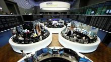 European shares drop on weaker updates, French banks rise on election poll