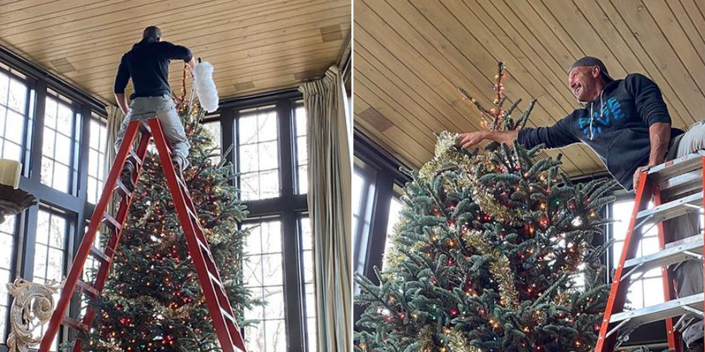 Tim Mcgraw S Christmas Tree Is So Huge He Needed A Ridiculously Tall Ladder To Decorate It