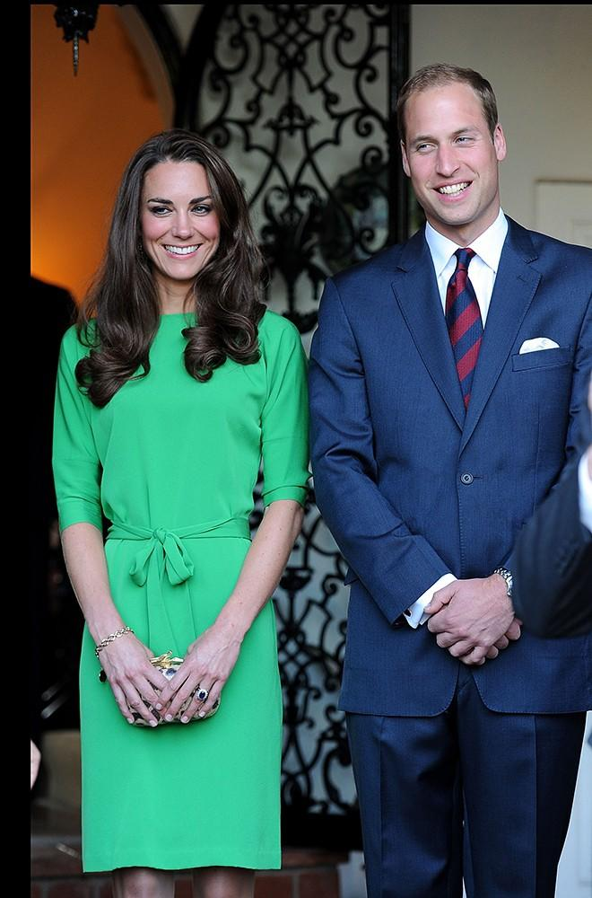 The Duke and Duchess arrived in Los Angeles, Kate in a bright green dress by one of our favorite designers, Diane von Furstenberg.