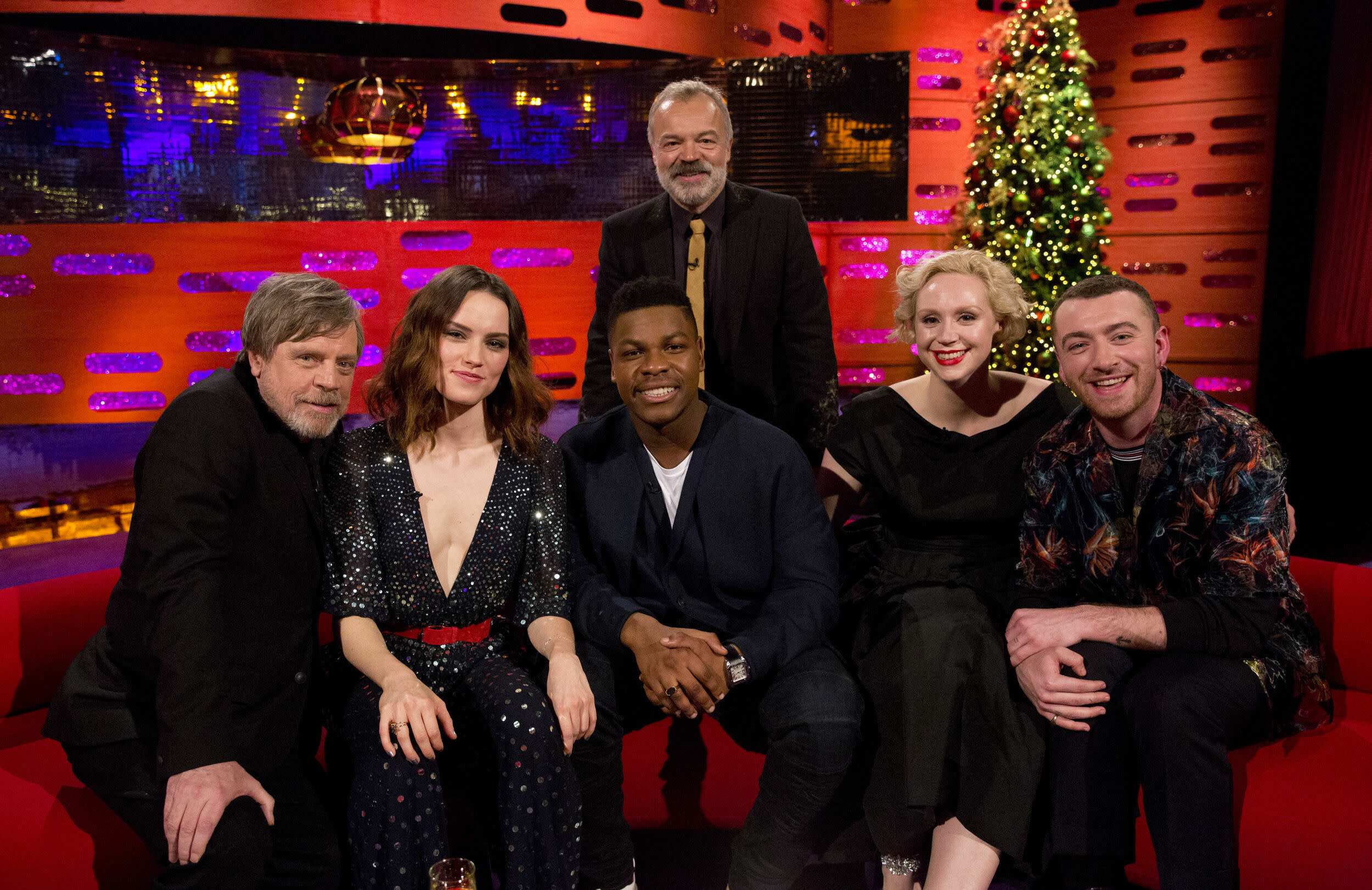 (left to right) Mark Hamill, Daisy Ridley, John Boyega, Graham Norton, Gwendoline Christie and Sam Smith during filming of the Graham Norton Show at The London Studios, to be aired on BBC One on Friday.