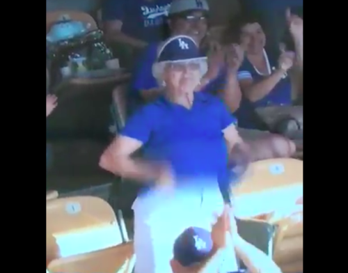 This Dodgers fan resorted to some unusual methods to help the team win. (Screenshot via @fidmcataucker on Twitter)