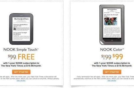 Barnes & Noble offers discounted Nooks with one-year subscription to The New York Times