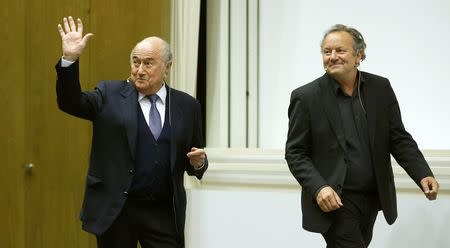 Former FIFA President Blatter and Pieth arrive before in a panel discussion in Basel