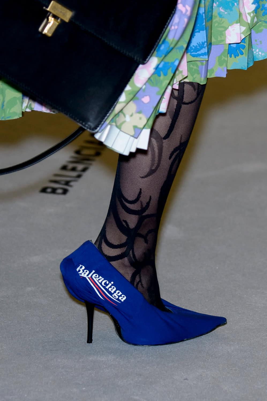 2346880363857 Blue Heels with the Bernie Sanders-Style Logo, Balenciaga Fall/Winter 2017