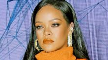 Rihanna Stuns in a High-Slit Leather Dress & Fishnet Sandals for the Launch of Fenty Skin