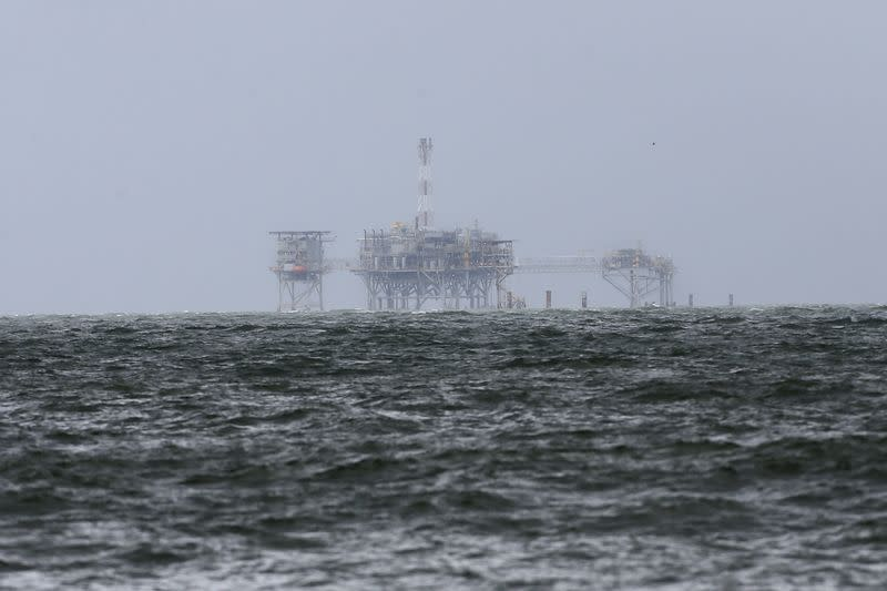 An offshore platform is pictured after Tropical Storm Gordon in Dauphin Island