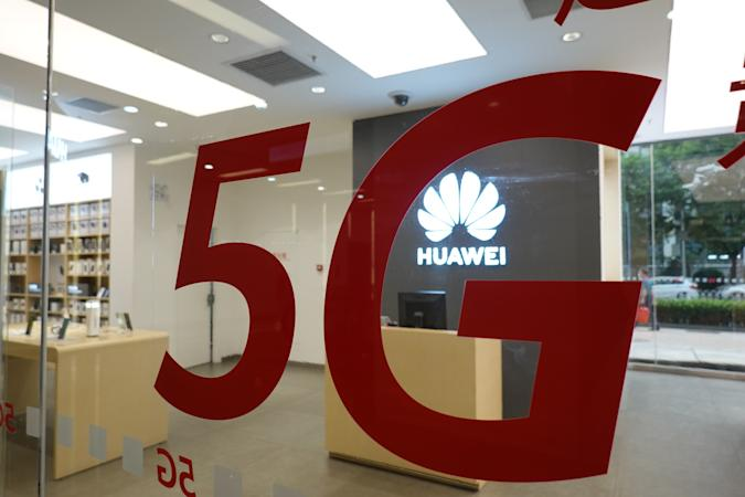 BEIJING, CHINA - MAY 29: A logo of 5G is seen at a Huawei authorised experience store on May 29, 2020 in Beijing, China. (Photo by Qin Luyao/VCG via Getty Images)