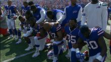 NFL teams respond to Trump with non-participation, kneeling in protest