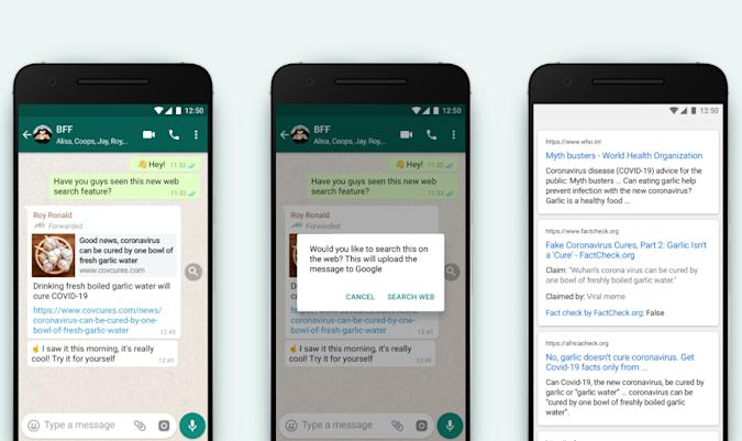 WhatsApp lets users fact-check frequently forwarded messages.