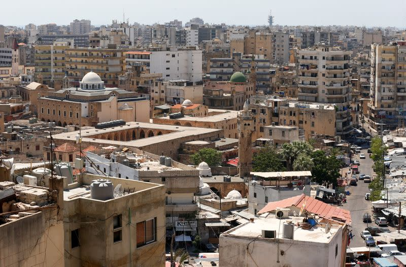 Buildings and mosques are pictured in Tripoli