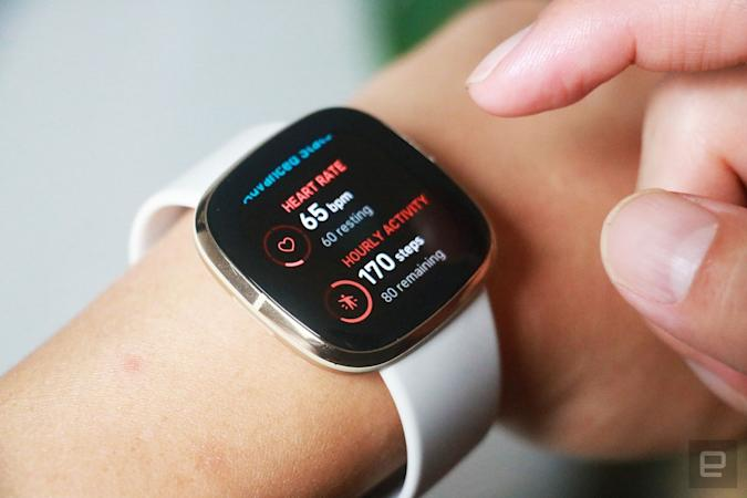 Fitbit Sense smartwatch with heart and activity data