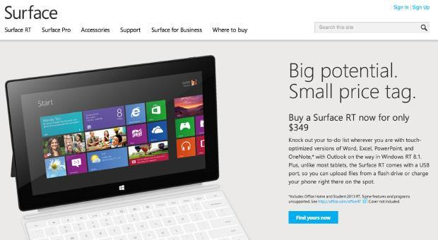 Microsoft drops Surface RT to $349 following global price cuts