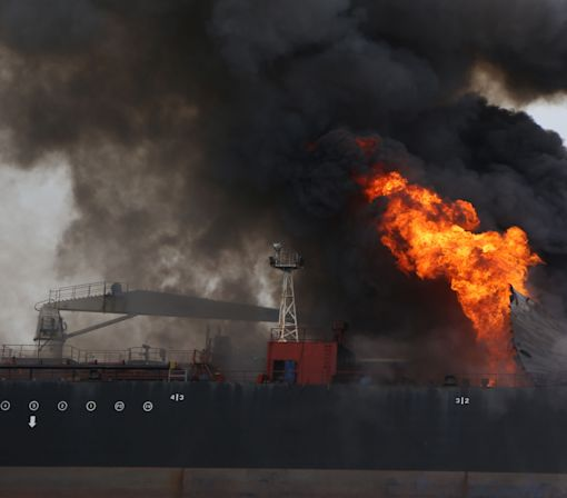 A Fuel Tanker In The Gulf of Mexico Has Been On Fire For 24 Hours