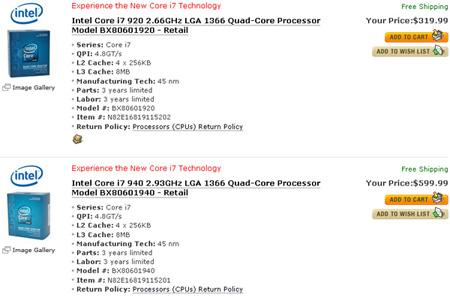 Intel Core i7 CPUs reappear on NewEgg