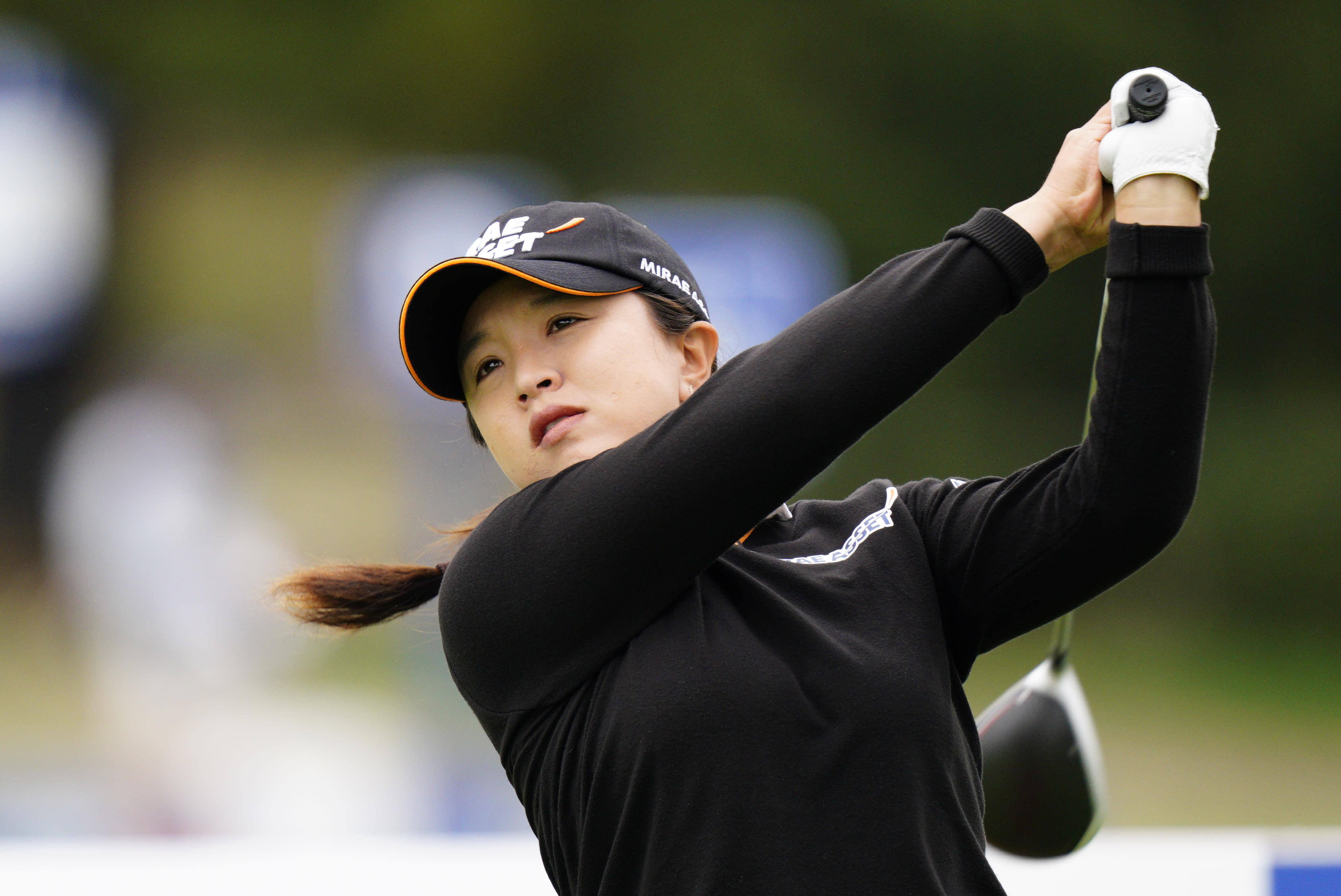 Sei Young Kim, of South Korea, watches her tee shot on the 12th hole during the final round at the KPMG Women's PGA Championship golf tournament at the Aronimink Golf Club, Sunday, Oct. 11, 2020, in Newtown Square, Pa. (AP Photo/Chris Szagola)