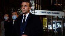 French president visits scene where police fatally shot man who killed teacher