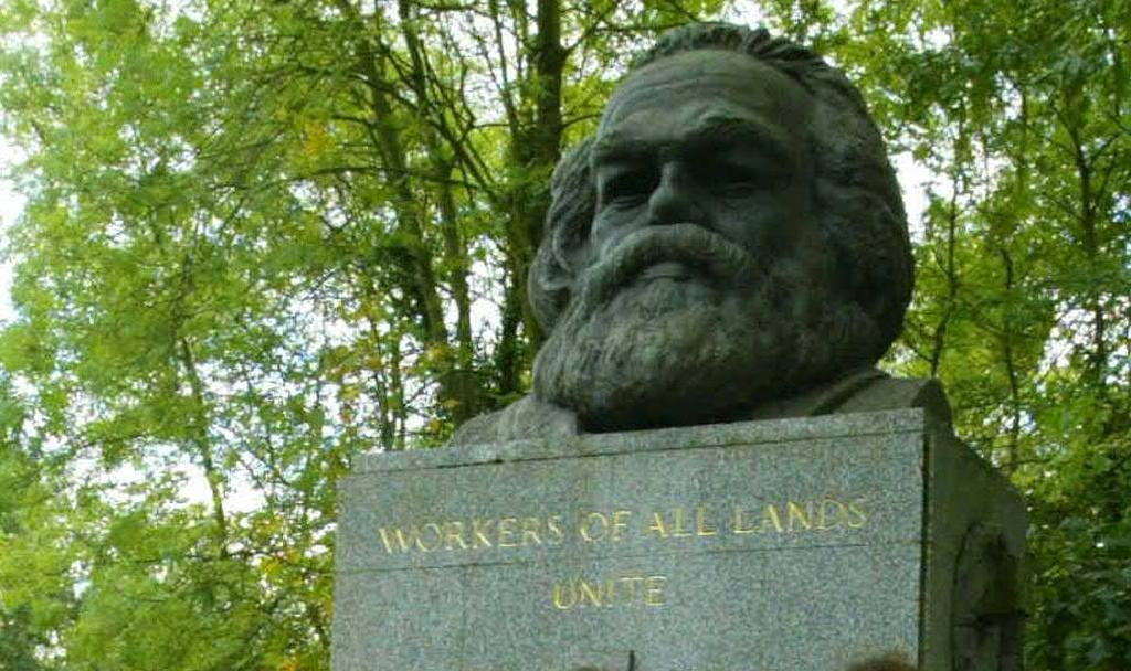 The granite slab monument in Highgate Cemetery, north London, (pictured in 2004) was funded in 1956 by the Communist Party of Great Britain