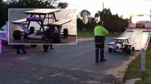 Mates driving motorised picnic table on wine tour stopped by police