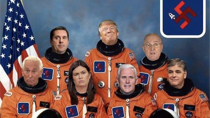 Roger Stone Posted Swastika-Laden Image Of 'Space Force' Featuring Himself, Trump