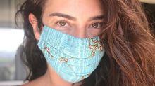 Fê Paes Leme usa máscara de tecido estampada de R$ 30