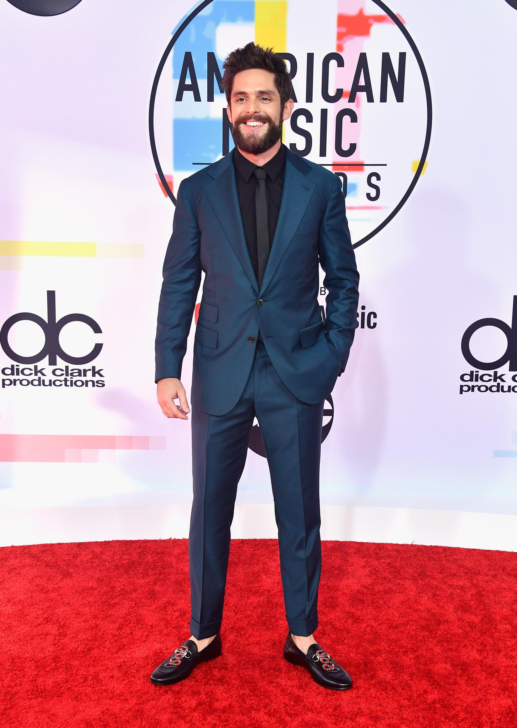 LOS ANGELES, CA - OCTOBER 09: Thomas Rhett attends the 2018 American Music Awards at Microsoft Theater on October 9, 2018 in Los Angeles, California. (Photo by Frazer Harrison/Getty Images)