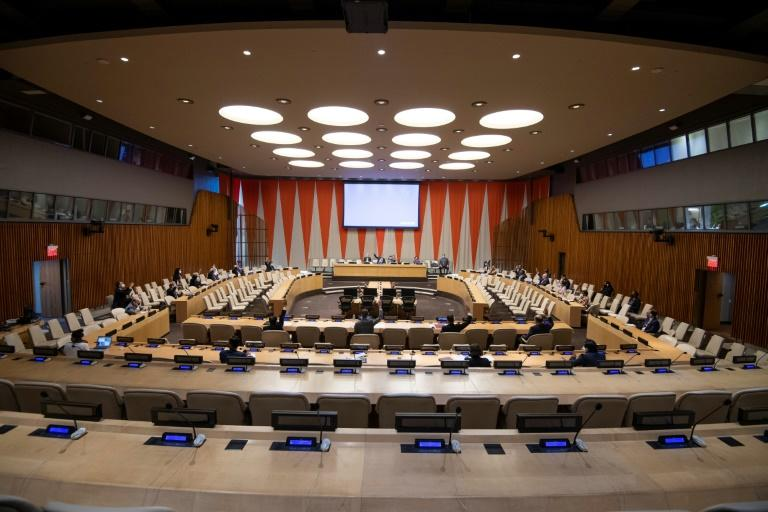 This United Nations handout photo released July 15, 2020, shows a wide view of a Security Council meeting