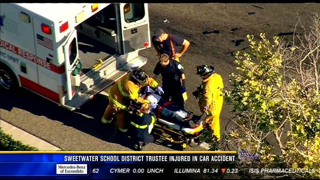 Sweetwater school district trustee injured in car crash