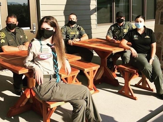 Scout Troop 7272 constructed tables and benches to sit outside Lake Forest City Hall.