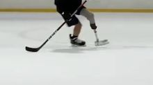 NHL amputee returns to ice with prosthetic leg, custom skate