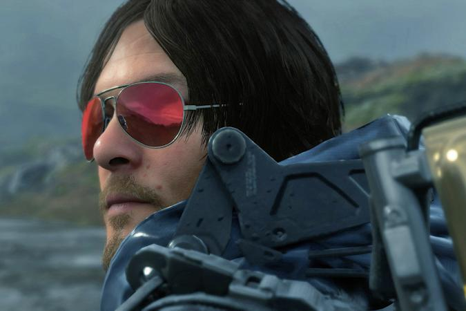 A still from the video game 'Death Stranding' showing the closeup of a character wearing red-tinted sunglasses.