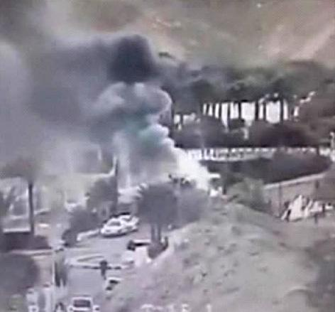 An image made from a video provided by the Israeli Airports Authority shows smoke from the bombing of the bus carrying South Korean sightseers near the tip of the Red Sea's Gulf of Aqaba Sunday Feb. 16, 2014. At least three South Korean tourists were killed and 12 seriously wounded, according to Egyptian security officials. (AP Photo/Israeli Airports Authority)