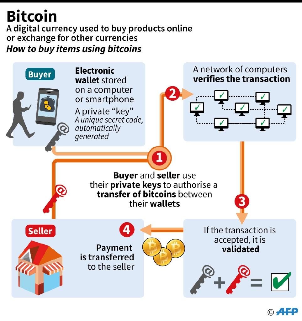 Description of how bitcoins function (AFP Photo/Sophie RAMIS)