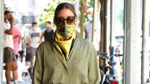 Olivia Palermo Wears Silk Scarves as Face Masks and Mixes Chic Prints For Quarantine Street Style