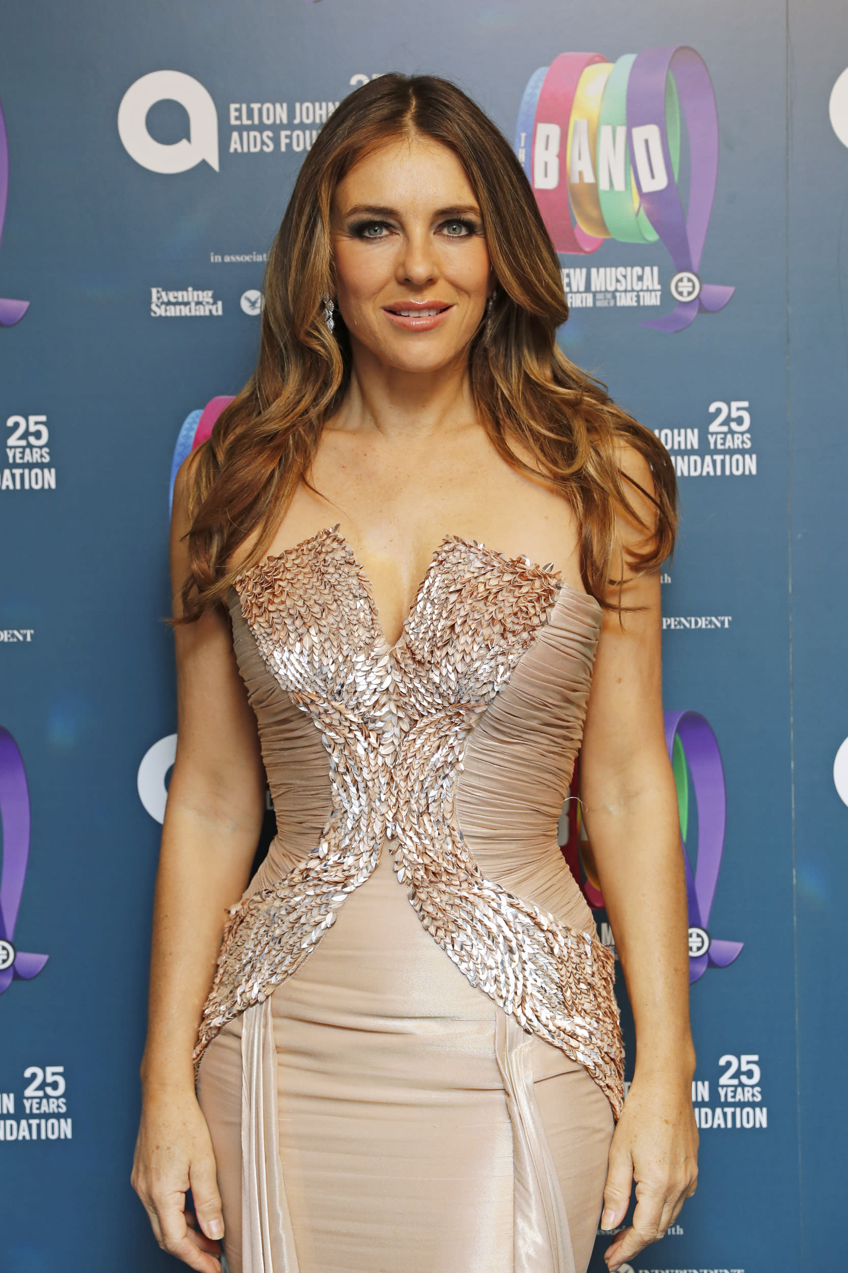 LONDON, ENGLAND - DECEMBER 04:    Elizabeth Hurley attends  the Opening Night Gala of 'The Band' to benefit the Elton John AIDS Foundation supported by The Evening Standard at Theatre Royal Haymarket on December 4, 2018 in London, England.  (Photo by David M. Benett/Dave Benett/Getty Images)