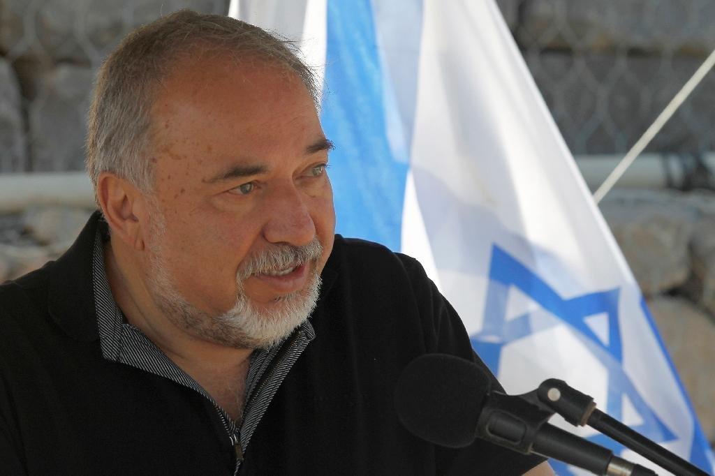 Israeli Defence Minister Avigdor Lieberman speaks during a visit to the Israeli-occupied Golan Heights on July 10, 2018